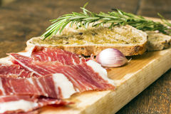 Spanish ham with toasts_10 Royalty Free Stock Images