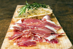 Spanish ham with toasts_11 Stock Photography
