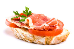Spanish ham and tomato Stock Photo