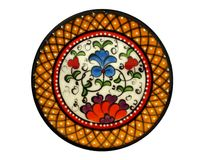 Spanish Hand Painted Plate. Spanish decorative hand made plate in variety of colours Stock Photo