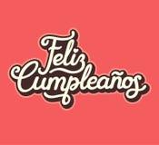 Spanish Happy Birthday lettering design. Feliz Cumpleanos, translated Happy Birthday in Spanish. Vintage style lettering design, vector illustration vector illustration