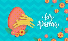 Spanish Happy Easter greeting card of egg and bunny paper cut on floral pattern background for Feliz Pascua. Vector spring floral Royalty Free Stock Images