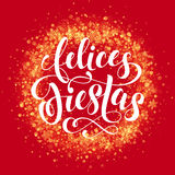 Spanish Happy Holiday Felices Fiestas wreath ornament decoration glitter snowflake Stock Photo