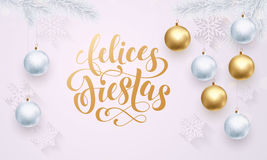 Spanish Happy Holidays Felices Fiestas golden white decoration ornament greeting Stock Images
