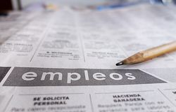 Spanish help wanted section Stock Image