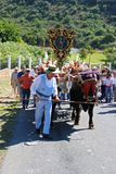 Spanish herder and bull cart, Marbella. Stock Photo