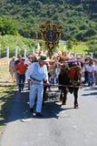 Spanish herder and bull cart, Marbella. Stock Photo