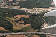 Spanish highway aerial view. Royalty Free Stock Photography