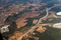 Spanish highway aerial view. Stock Image