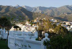 Spanish Hills. Whitewashed buildings and the distant Sierra Nevada mountains in Spain stock image