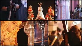 Spanish holy week, collage stock footage