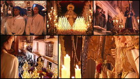 Spanish holy week, collage stock video footage