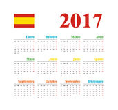 Spanish Horizontal calendar 2017. Week starts from Monday. Vector template pocket calendar for business on white background Stock Photos