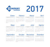 Spanish Horizontal calendar 2017. Week starts from Monday. Vector template pocket calendar for business on white background Royalty Free Stock Photos