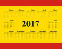 Spanish Horizontal calendar 2017. Week starts from Monday. Vector template pocket calendar for business on yellow background Stock Photos