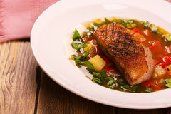 Spanish hot vegetable stew with duck breast Stock Photos