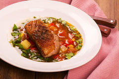 Spanish hot vegetable stew with duck breast Royalty Free Stock Photo