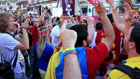 Spanish and Italian football fans before final match of EURO 2012 stock footage