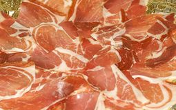 Spanish jabugo Ham. Close up view of some spanish jabugo ham slices Royalty Free Stock Photos