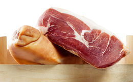 Spanish jamon iberico on white (serrano ham) Royalty Free Stock Photography