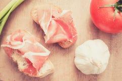 Spanish jamon snacks. Filter pastel Stock Photography