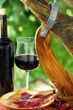 Spanish Jamon  and wine. Royalty Free Stock Images