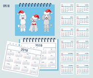 Spanish Kids calendar for wall or desk year 2018,2019 Royalty Free Stock Images