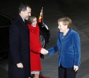 Spanish King Felipe VI, Queen Letizia, Chancellor Angela Merkel Stock Photos