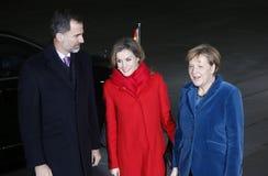Spanish King Felipe VI, Queen Letizia, Chancellor Angela Merkel Royalty Free Stock Image