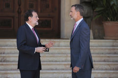 Spanish King and Prime minister summer Meeting Stock Images