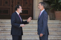 Spanish King and Prime minister summer Meeting Stock Image