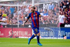 Spanish La Liga: Valencia CF v FC Barcelona. VALENCIA, SPAIN - OCT 22: Messi celebrates a goal at the La Liga match between Valencia CF and FC Barcelona at royalty free stock images