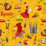 Spanish landmark pattern vector background Royalty Free Stock Image