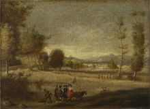 Spanish - Landscape with Figures stock image