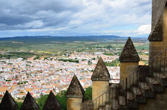 Spanish landscape with the white town and ancient battlements Royalty Free Stock Image