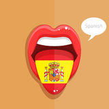 Spanish language concept. Spanish language tongue open mouth with flag of Spain, woman face. Flat design, vector illustration Stock Photos