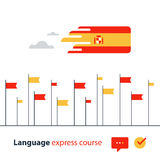 Spanish language courses advertising concept. Fluent speaking foreign language Stock Photos