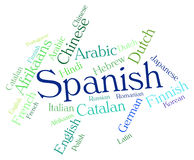 Spanish Language Means Wordcloud Translator And Text Royalty Free Stock Image