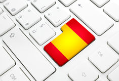Spanish language or Spain web concept. National flag enter butto Stock Images