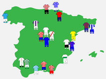 Spanish League Clubs Map 2013-14 Royalty Free Stock Photo