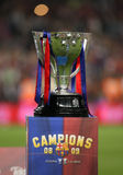 Spanish League Trophy. BARCELONA, SPAIN - MAY 23: The spanish league trophy after the La Liga match between FC Barcelona and CA Osasuna at the Nou Camp stadium Royalty Free Stock Photography