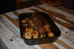 Spanish leg of lamb. Roasted Spanish leg of lamb royalty free stock image