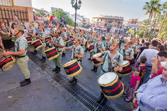 Spanish Legionnaires with drums royalty free stock photography