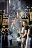 Spanish Legionnaires holding a religious image Stock Photos