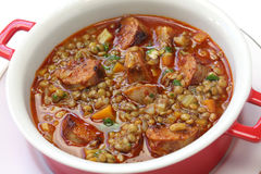 Spanish lentil soup with chorizo Royalty Free Stock Photo