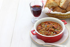Spanish lentil soup with chorizo Royalty Free Stock Image