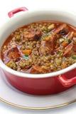 Spanish lentil soup with chorizo Stock Photo