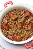 Spanish lentil soup with chorizo Stock Photos