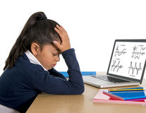 Spanish little schoolgirl bored and tired with computer maths homework Royalty Free Stock Photography