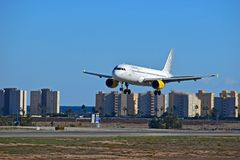 Flying Low At Alicante Airport Vueling Airlines Stock Photography
